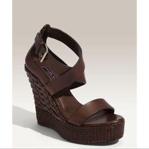 Ralph Lauren Collection -Finna Leather Wedge